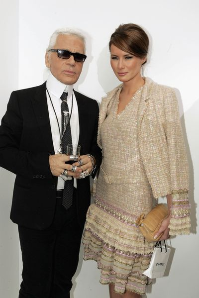 <p>Melania Trump (nee Knauss) in Chanel with Karl Lagerfeld at Chanel, spring/summer '05, Paris.</p>