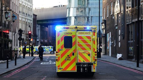 An ambulance makes its way to the scene near Borough Market after reports of shots being fired on London Bridge on November 29, 2019