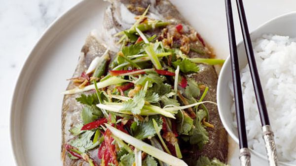 Steamed flounder with shallot and chilli dressing