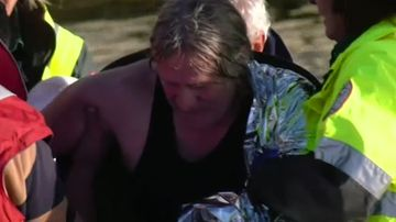 A kayaker has been rescued after becoming stranded.