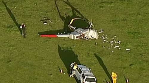 A helicopter crashed with two people on board.