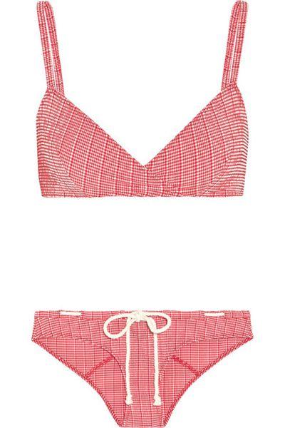 """<a href=""""http://www.net-a-porter.com/au/en/product/544986/Lisa_Marie_Fernandez/yasmin-seersucker-triangle-bikini"""" target=""""_blank"""">Bikini, $478, Lisa Marie Fernandez, Net-A-Porter</a>"""
