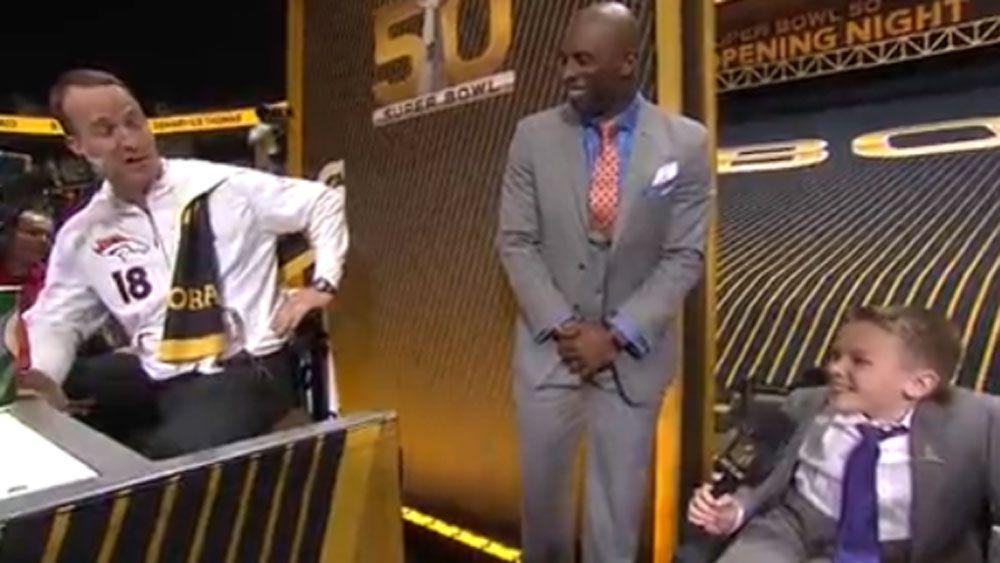 Peyton Manning gets interviewed by Austin Denton. (Supplied)