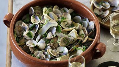 """Recipe:<a href=""""http://kitchen.nine.com.au/2016/05/17/14/54/clams-and-artichokes-with-alioli"""" target=""""_top"""">Clams and artichokes with alioli</a>"""