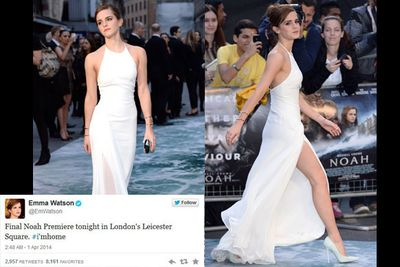 """Russell Crowe, Jennifer Connelly and Emma Watson walked the ocean-themed red carpet for the London <i>Noah</i> premiere. Emma looked stunning in a white floor-length Ralph Lauren gown, with a very risky thigh-high split. While Russell walked arm in arm with buddy Hugh Jackman. We had no idea they were BFFs!<br/><br/>Check out all the snaps from the glam event, including Russell's snazzy helicopter arrival to the next premiere in Paris...<br/><br/>(<i>Author: <b><a target=""""_blank"""" href=""""https://twitter.com/yazberries"""">Yasmin Vought</a></b></i>)"""