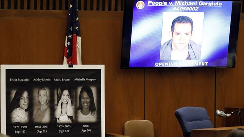 The pictures of the victims (L) and of Michael Gargiulo are shown during the opening statements of Michael Gargiulo's trial at the Clara Shortridge Foltz Criminal Justice Center in Los Angeles, California.