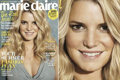 The blonde singer and TV star went barefaced for <i>Marie Claire</i> in May 2010.