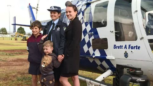 Susan Forte and children Brodie, Samuel and Emma with the chopper. Picture: 9NEWS