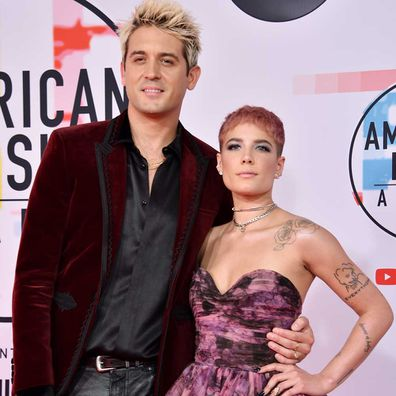 G-Eazy and Halsey attend the 2018 American Music Awards.