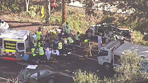 The three trapped passengers are all being transported to hospital in critical conditions. Picture: 9NEWS.