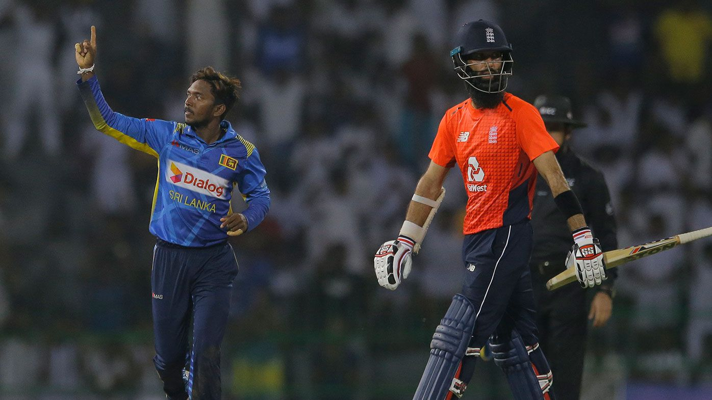 Moeen Ali is dismissed as England slumps to a record defeat at the hands of Sri Lanka