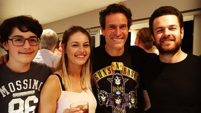 WSFM's Brendan Jones 'Jonesy' with his three children. Image: Brendan Jones