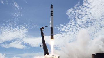 If all goes to plan, the carbon fibre rocket will reach a commercial airliner's altitude in just one minute. Picture: AP