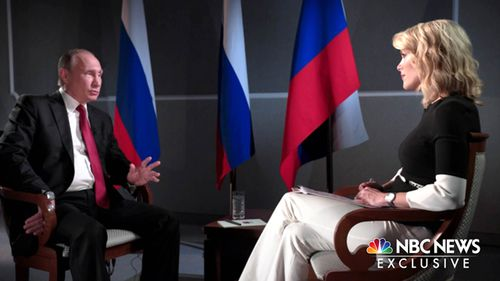 Russian President Vladimir Putin sits with Megyn Kelly. Source: NBC