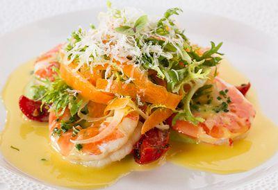 Warm king prawn salad