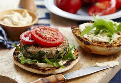 Chicken and hummus burger