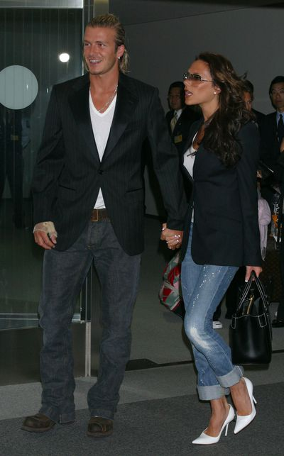 <p><strong>Jet set denim</strong></p> <p>Victoria and David Beckham arrive at New Tokyo International Airport on June 18, 2003.</p>