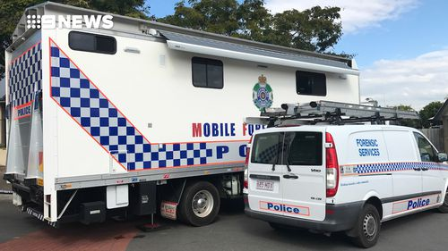Police at the home in Kuraby. Picture: 9NEWS