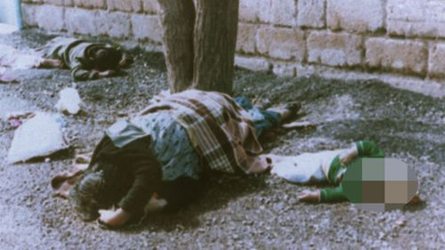 This 1988 file photo shows victims of a chemical gas attack on Kurds in the town of Halabja, Iraq. Iraqi dictator Saddam Hussein was accused of using mustard gas and the nerve agent taubun in his country's civil war with neighbouring Iran as well as his 1987-88 crackdown on Iraq's Kurdish minority. (AP)