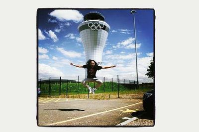 American electro house musician Steve Aoki in front of the the Birmingham Airport Olympics 2012 Watchtower