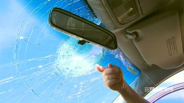 His windscreen was shattered in the attack.
