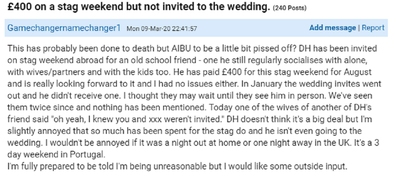 Mumsnet post about rude bride and groom