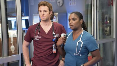 Will Halstead and Maggie Lockwood in Chicago Med.