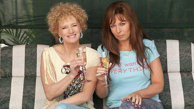 Jane Turner (Kath) and Gina Riley (Kim) as seen on Kath and Kim.