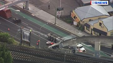 An aerial view of the truck on Annerley Road in Woolloongabba.