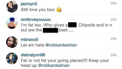 Fans of Rob Kardashian were quick to show their support. (Instagram)