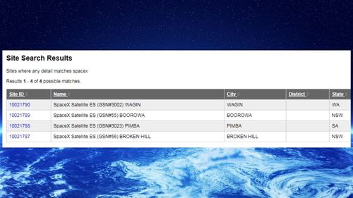 SpaceX has satellites registered with ACMA.