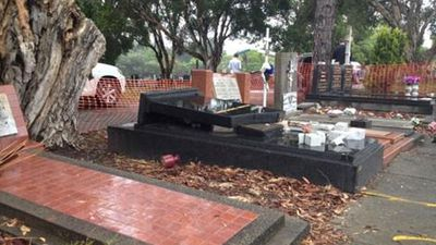 The gravestones are in the Russian and Ukranian section of the cemetery. (Picture: Mimi Becker, 9NEWS)