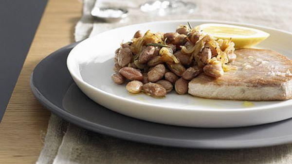 Borlotti beans and anchovies with tuna