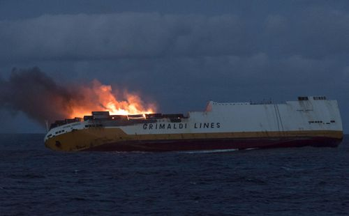 The Grimaldi vessel Grande America on fire in the Bay of Biscay, off the west coast of France. Authorities are working to contain an oil spill off the Atlantic Coast after the Italian tanker sank following a fire.