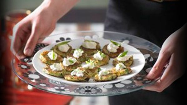 Zucchini and haloumi fritters