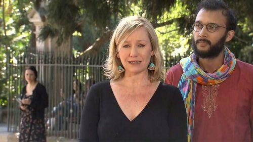 Larissa Waters speaks to media. (9NEWS)