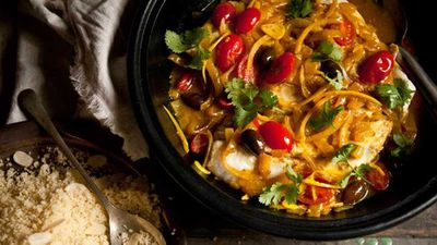 Moroccan fish tagine with almond couscous