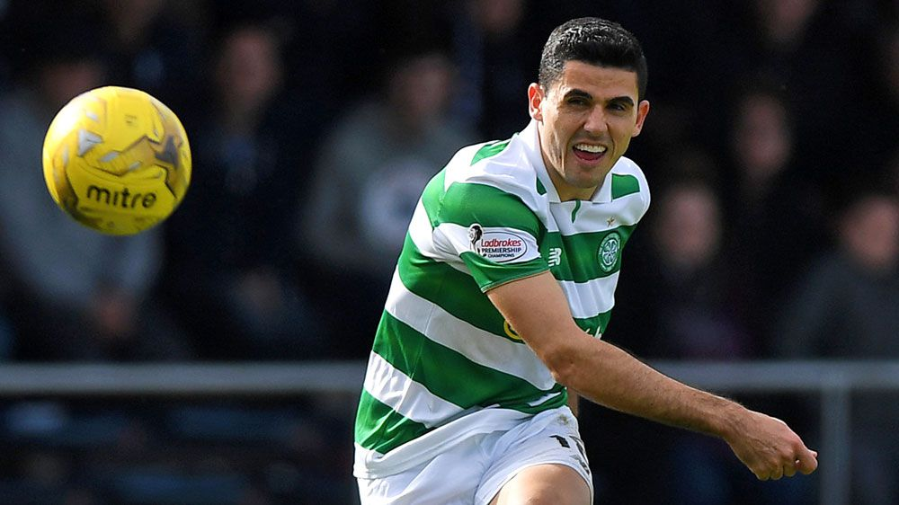 Tom Rogic scores for Celtic as they charge towards ECL draw