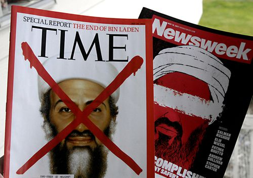 American News magazines Time and Newsweek report on the death of Osama bin Laden. (Getty)