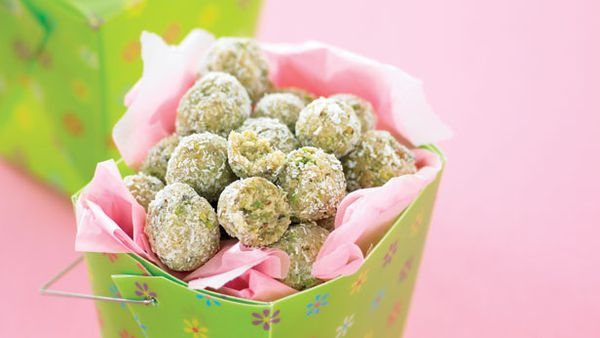 Coconut and pistachio balls
