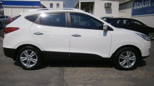 Victoria police believe the pair may be travelling in a white 2011 Hyundai iX35 wagon with registration YTK 659 similar to the one displayed in this image. (Victoria Police.)