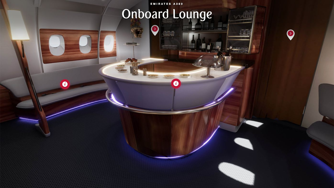 Emirates VR onboard lounge
