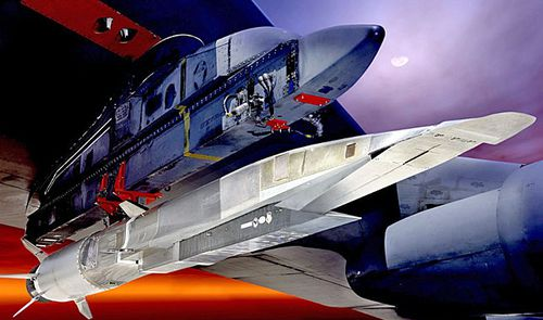 A graphic of the the prototype hypersonic weapon X-51A Waverider, shown here under the wing of a B-52 bomber. Similar technology will be  used to build the new hypersonic missile ordered by the Pentagon. (Image: US Air Force).