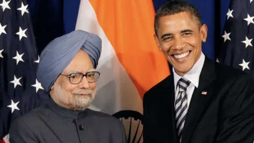 Barack Obama meeting Manmohan Singh in the undoctored original image.