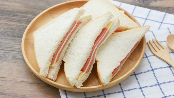 Ham and cheese sandwich with crusts cut off
