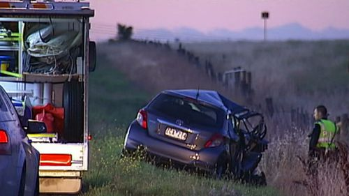 The driver died after the crash in Truganina. (9NEWS)