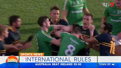 International Rules: Australia win series against Ireland as Joel Selwood sent off