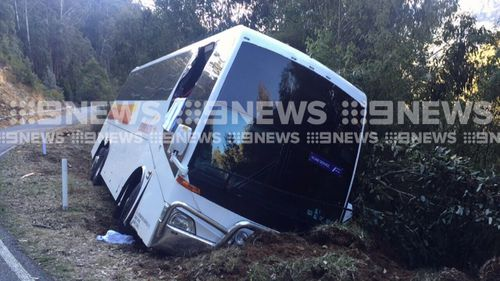 A bus carrying 10 students crashed off a road near Falls Creek.