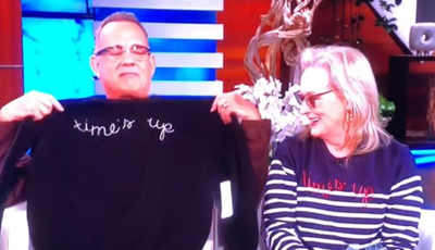 Meryl Streep and Tom Hanks rocking their Time's Up sweatshirts on<em> Ellen</em>