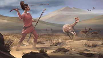 An illustration of a female hunter who may have killed big-game animals in the Andes 9000 years ago.